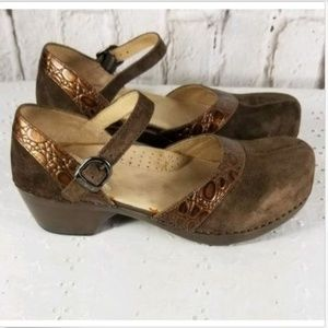 Dansko Brown Leather Mary Jane Clogs Shoes Sz 8